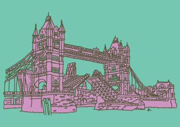 Tower Bridge Mauve & Green A1