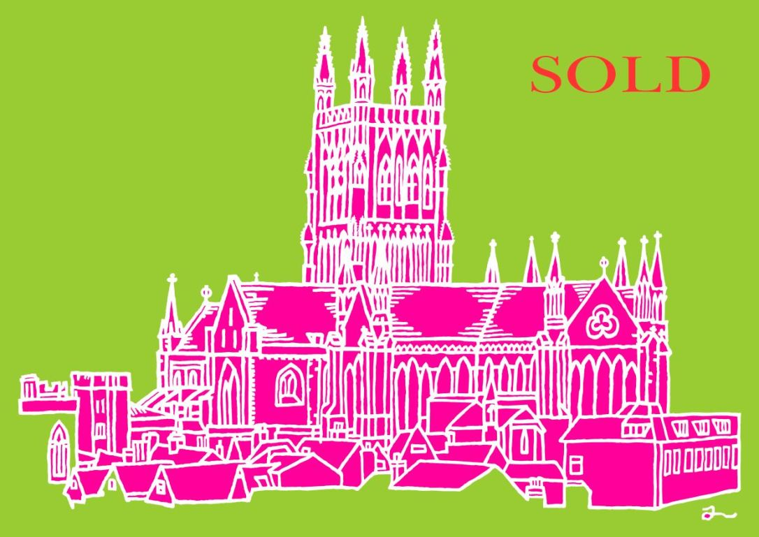 PA1 Worcester Cathedral (Green Pink White)