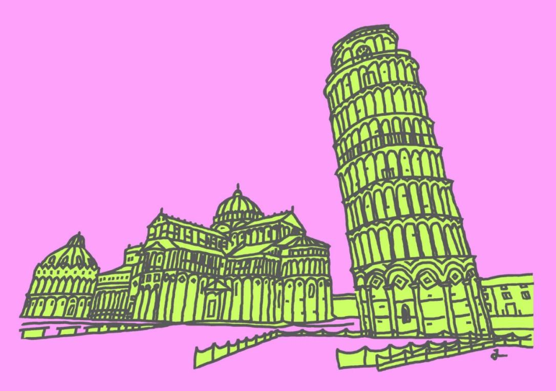 PA4 Leaning Tower of Pisa (Plink Lime & Black) Canvas